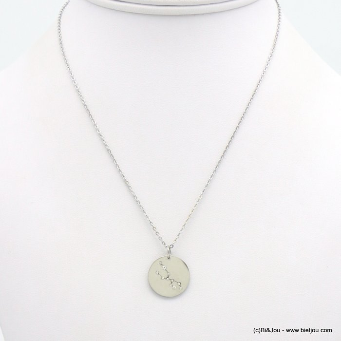 necklace 0119237-13 zodiac sign piece, constellation, taurus, slave link chain, stainless steel, round pendant 18mm