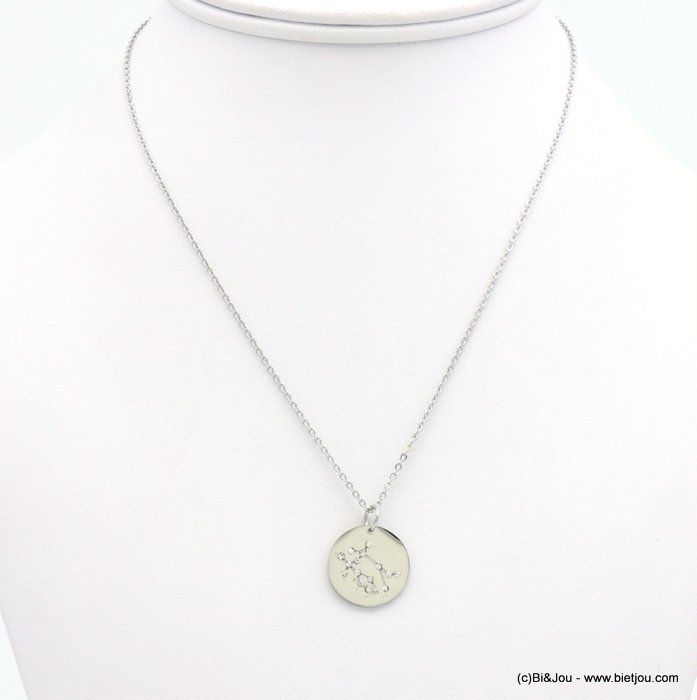 necklace 0119238-13 zodiac sign piece, constellation, gemini, slave link chain, stainless steel