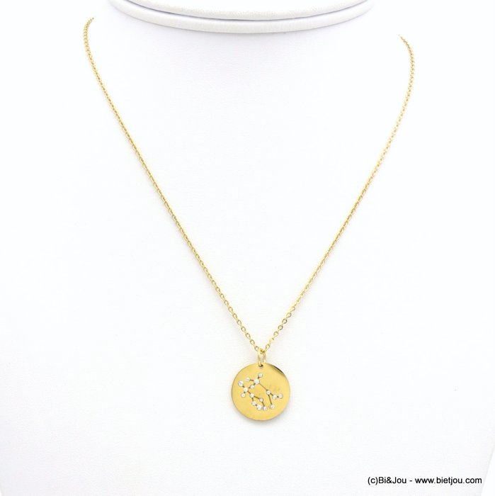 necklace 0119238-14 zodiac sign piece, constellation, gemini, slave link chain, stainless steel