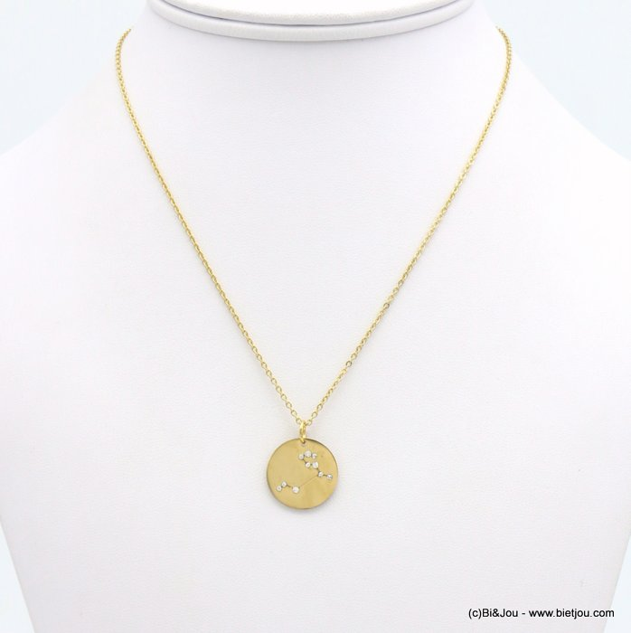 necklace 0119240-14 zodiac sign piece, constellation strass, leo, slave link chain, stainless steel