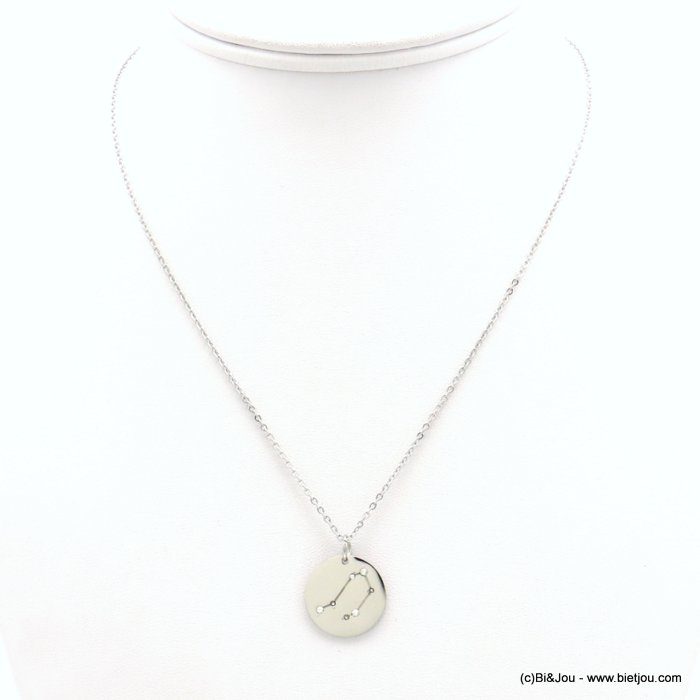 necklace 0119242-13 zodiac sign piece, constellation strass, libra, slave link chain, stainless steel