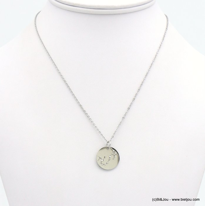 necklace 0119243-13 zodiac sign piece, constellation strass, scorpio, slave link chain, stainless steel
