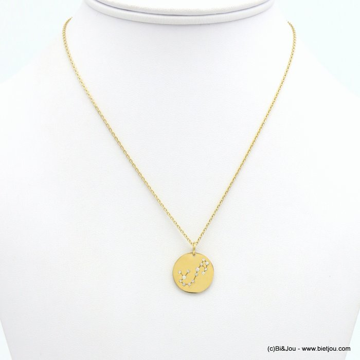 necklace 0119243-14 zodiac sign piece, constellation strass, scorpio, slave link chain, stainless steel