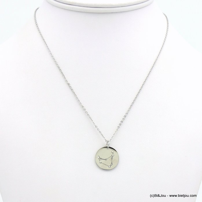 necklace 0119245-13 zodiac sign piece, constellation strass, capricorn, slave link chain, stainless steel