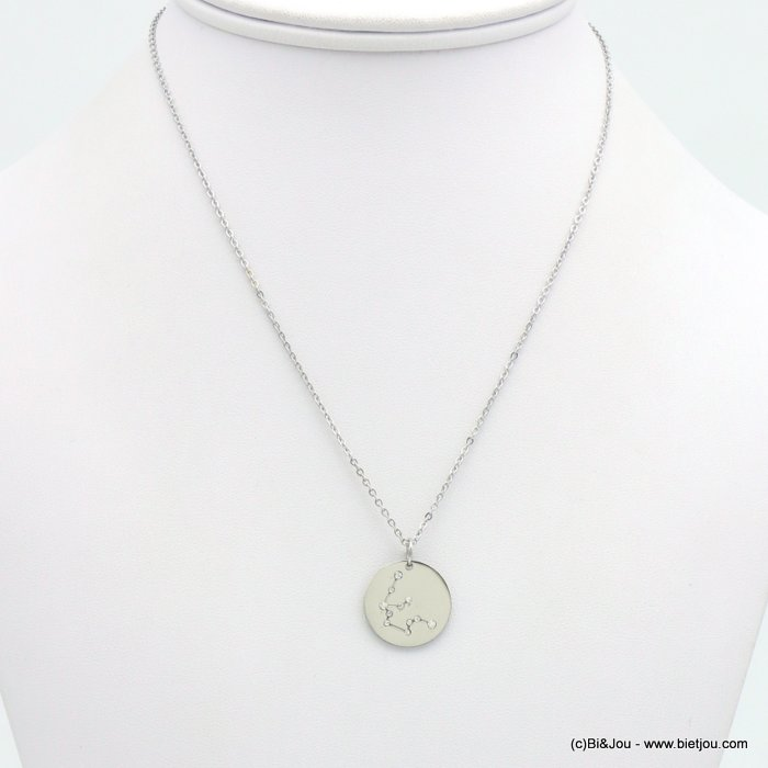 necklace 0119246-13 zodiac sign piece, constellation strass, aquarius, slave link chain, stainless steel