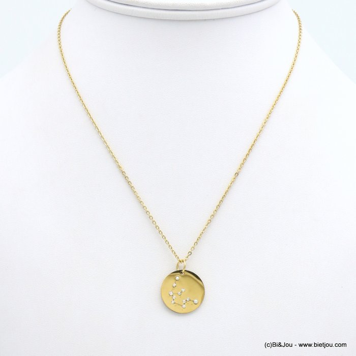 necklace 0119246-14 zodiac sign piece, constellation strass, aquarius, slave link chain, stainless steel