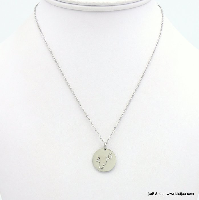 necklace 0119247-13 zodiac sign piece, constellation strass, pisces, slave link chain, stainless steel