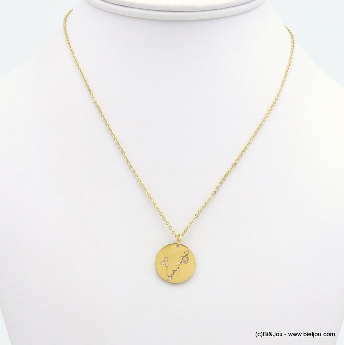 necklace 0119247-14 zodiac sign piece, constellation strass, pisces, slave link chain, stainless steel