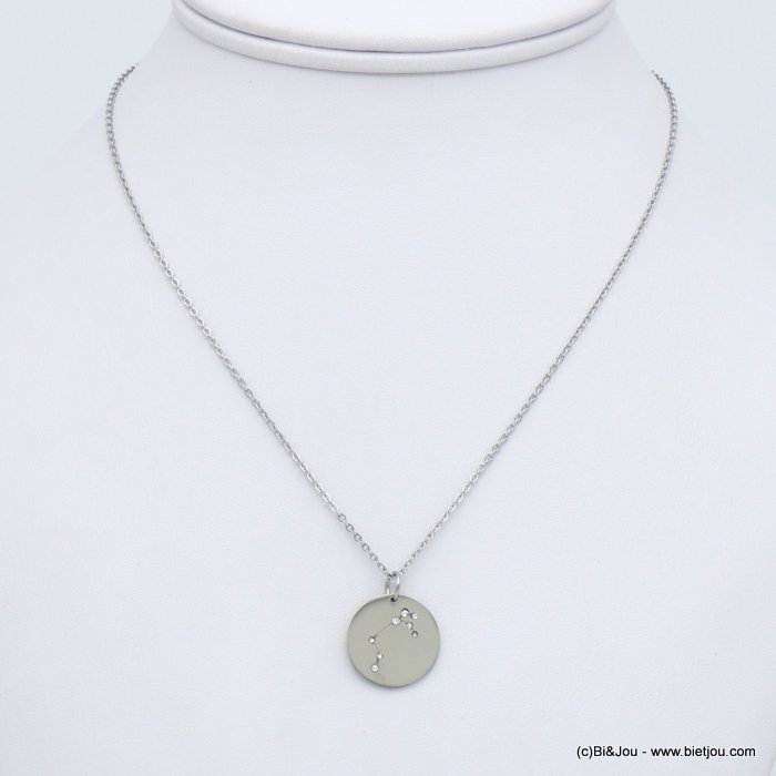 necklace 0119248-13 stainless steel zodiac sign piece, rhinestone constellation, aries, slave link chain