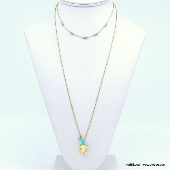 layering necklace 0119249-17 stainless steel, slave link chain, monstera leaf pendant, tassel, colorful pearls