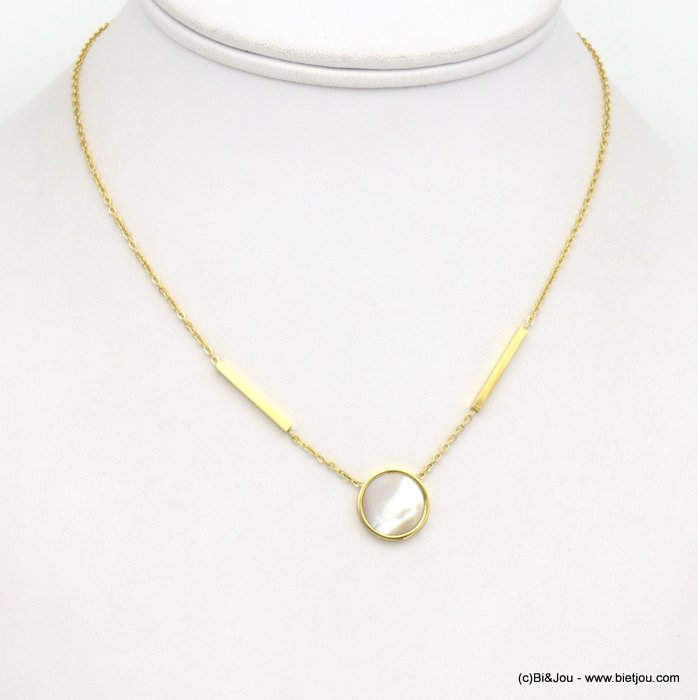 necklace 0119251-14 stainless steel-shell