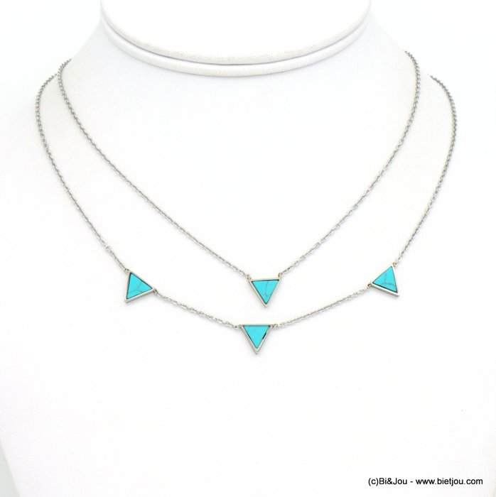 necklace 0119252-13 stainless steel-reconstituted stone