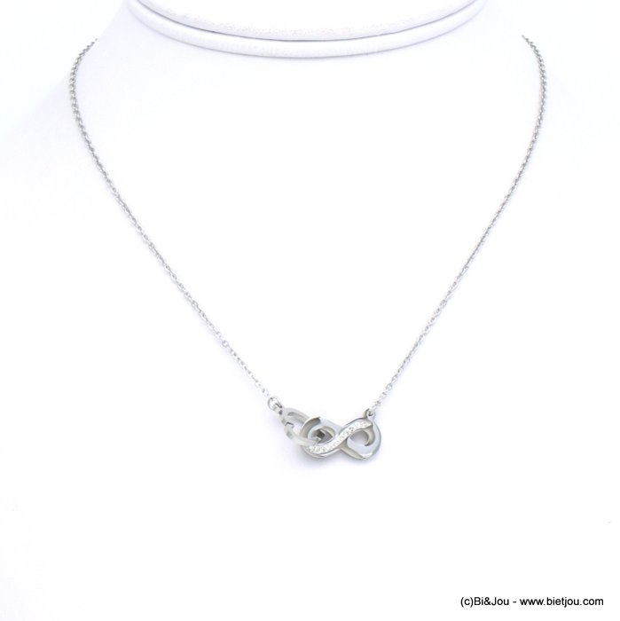 necklace 0119253-13 heart infinity stainless steel-strass