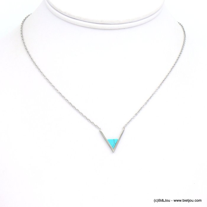 necklace 0119254-13 stainless steel-reconstituted stone