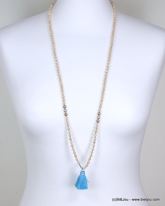 long necklace 0119265-18 woman, thread colored tassel pendant, faceted pearls, silver and golden rounds pieces