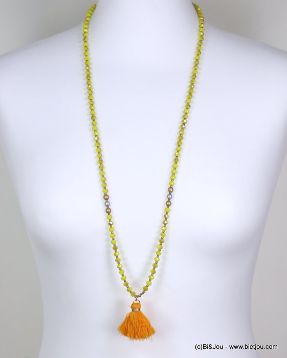 long necklace 0119265-43 woman, thread colored tassel pendant, faceted pearls, silver and golden rounds pieces