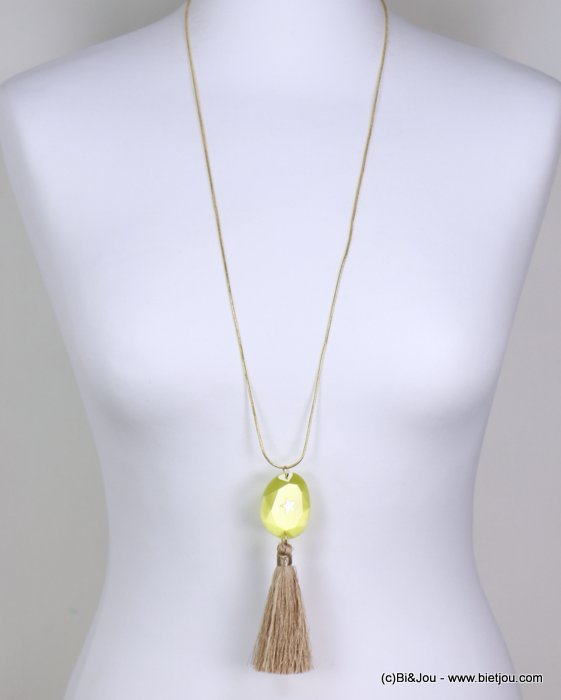 long necklace 0119266-43 woman, snake chain, oversize tassel pendant, faceted flat stone, silver star