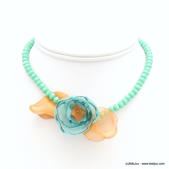 short necklace 0119267-11 woman, colored faceted pearls, fabric flower