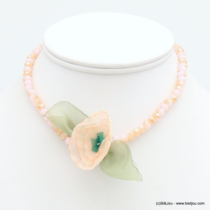 short necklace 0119267-18 woman, colored faceted pearls, fabric flower