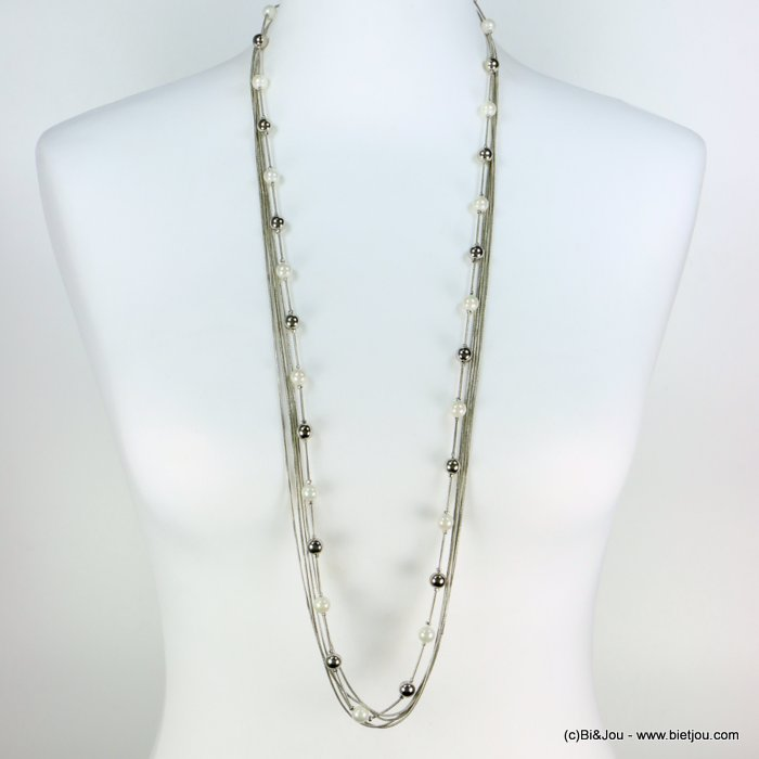long necklace 0119270-13 sautoir multi-row faux-pearl metal ball snake chain