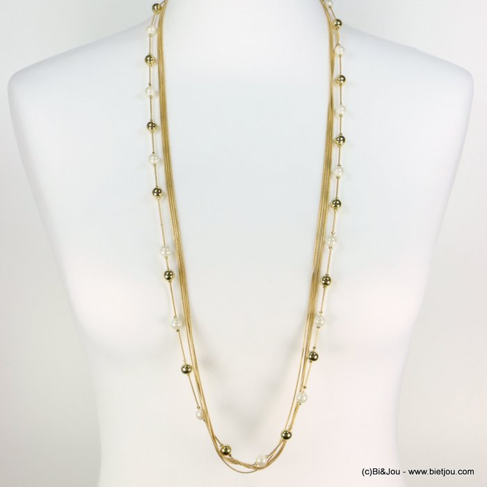 long necklace 0119270-14 sautoir multi-row faux-pearl metal ball snake chain