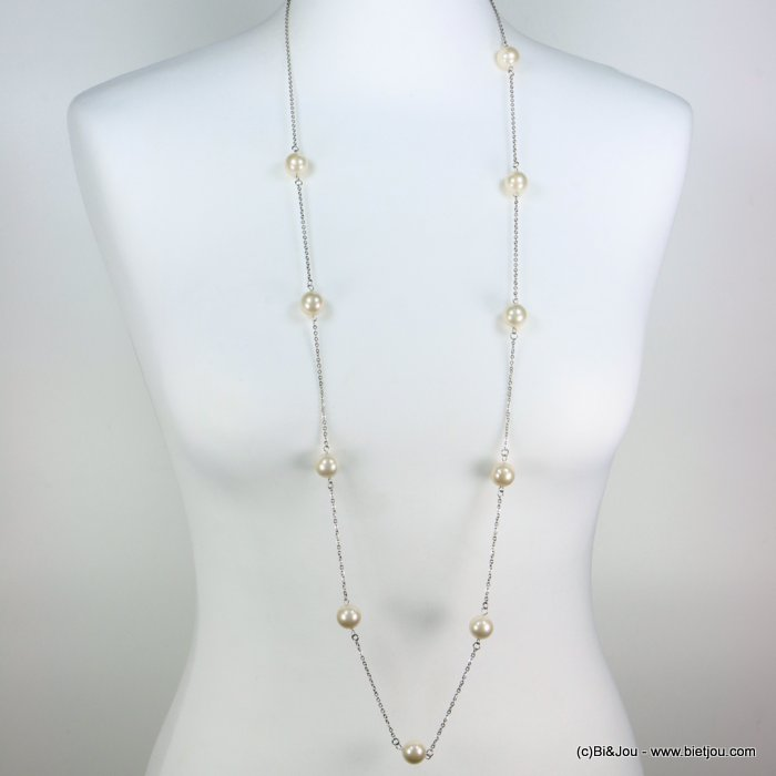 long necklace 0119273-19 sautoir stainless steel acrylic ball slave link chain
