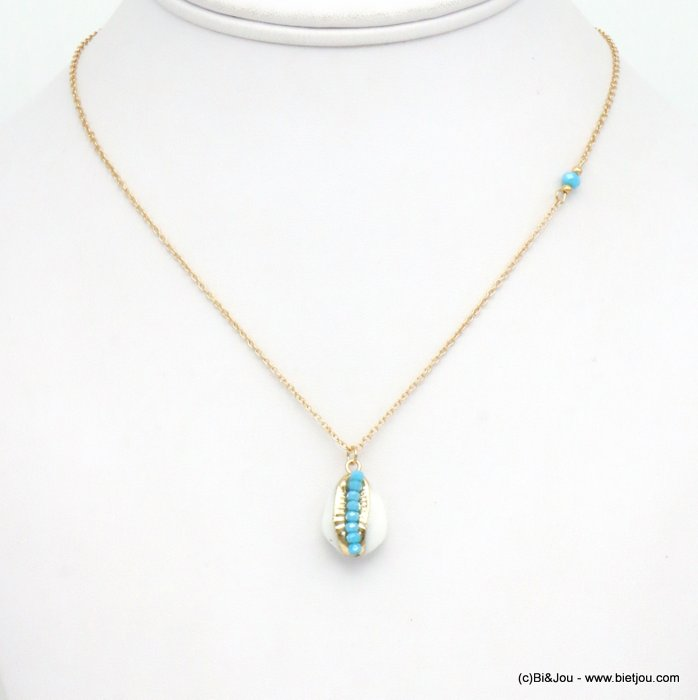 necklace 0119291-17 beach jewellery lobster clasp slave chain 400mm crystal beads cowrie shell