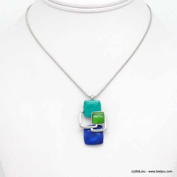 necklace 0119517-07 snake chain resin and metallic squares geometric coloured resin 40x20mm