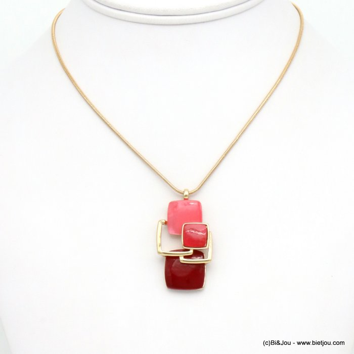 necklace 0119517-18 snake chain resin and metallic squares geometric coloured resin 40x20mm