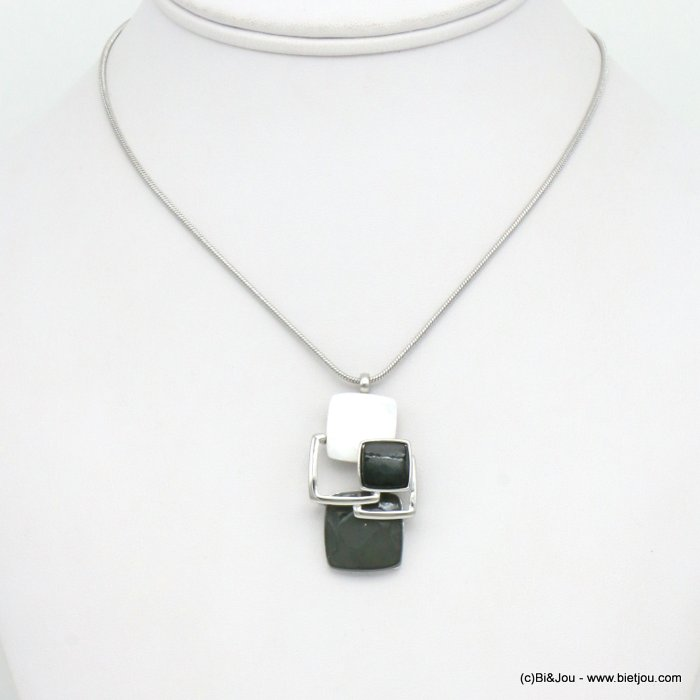 necklace 0119517-25 snake chain resin and metallic squares geometric coloured resin 40x20mm