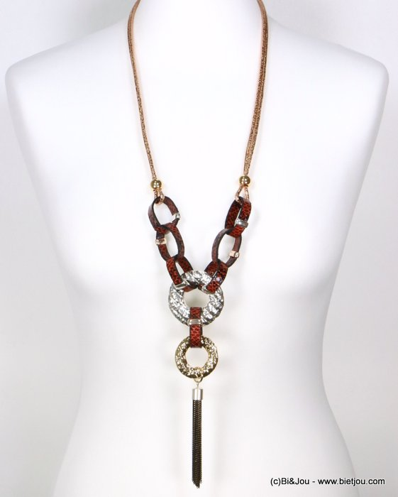 necklace 0119522-11 sautoir rings hammered metal faux leather snake pattern tassel bicolor chain