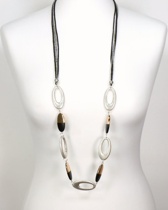 necklace 0119527-01 sautoir aged aluminum rings bicolored metallic resin pebble glittering cord