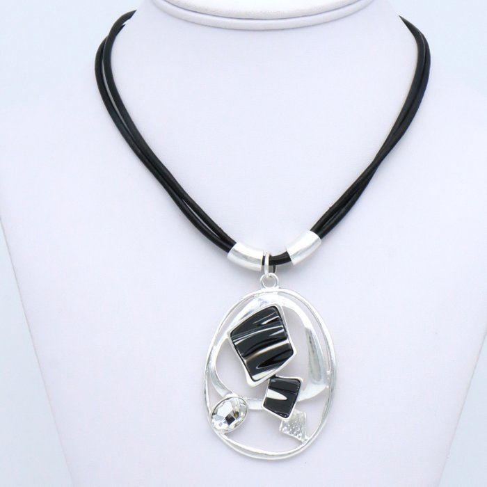 necklace 0119535-01 pendant geometric resin marbled effect rhinestone genuine leather double-cords