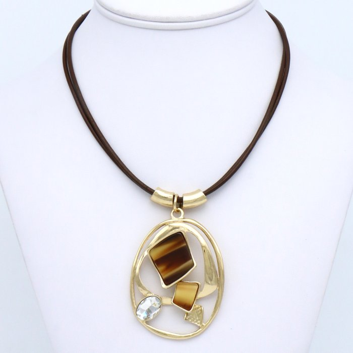 necklace 0119535-02 pendant geometric resin marbled effect rhinestone genuine leather double-cords