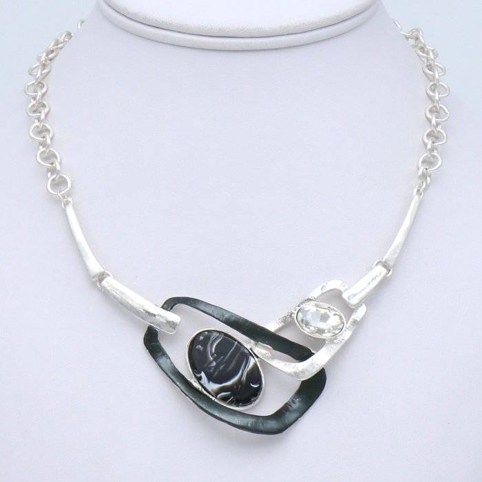 necklace 0119536-01 geometric metal resin marbled effect rhinestone slave link chain