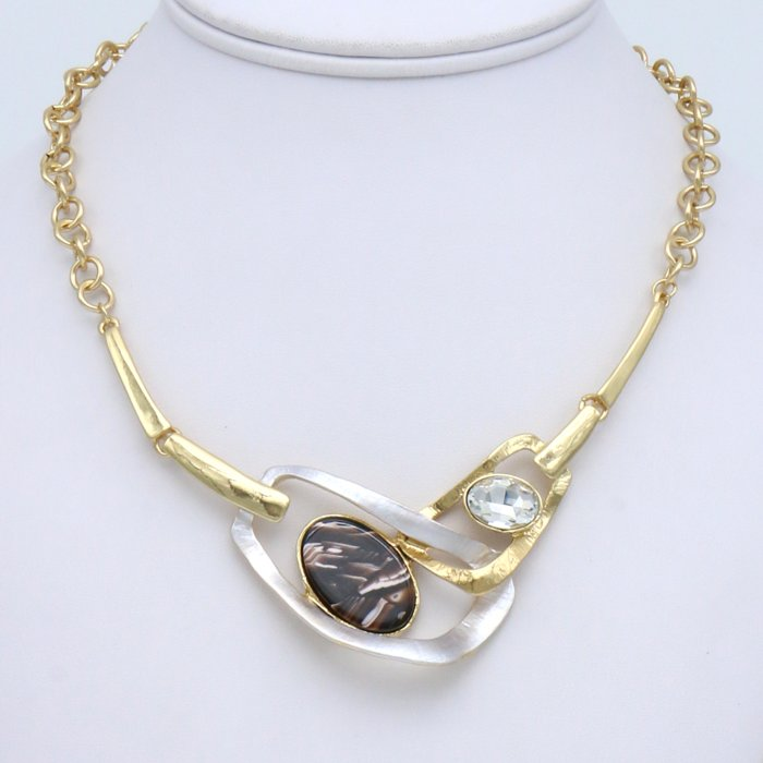 necklace 0119536-02 geometric metal resin marbled effect rhinestone slave link chain