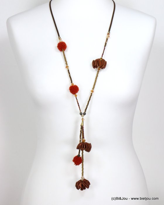 necklace 0119539-10 sautoir synthetic-suede-crystal-metal-polyester-acrylic