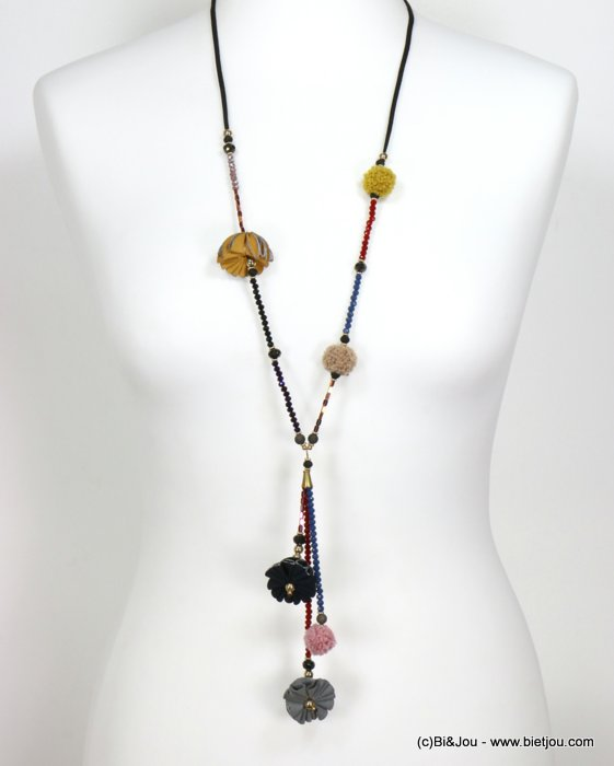 necklace 0119539-99 sautoir synthetic-suede-crystal-metal-polyester-acrylic
