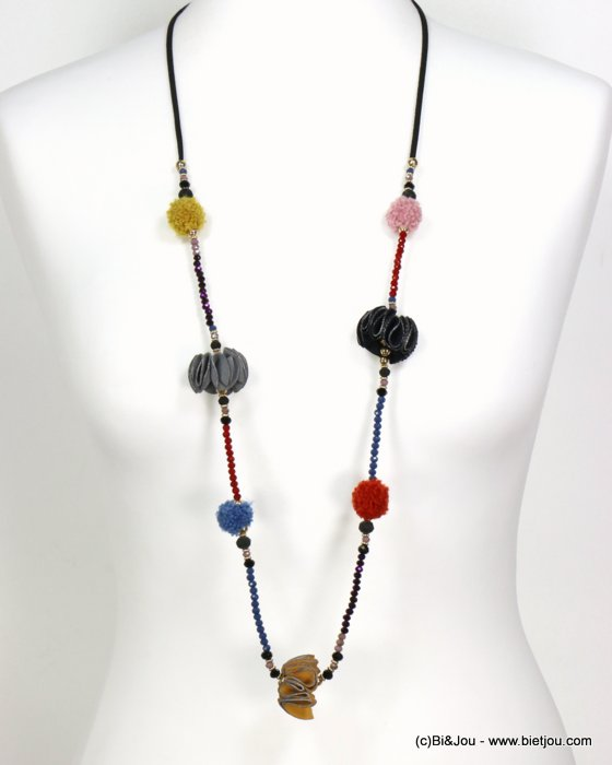 necklace 0119540-99 sautoir synthetic-suede-crystal-metal-polyester-acrylic