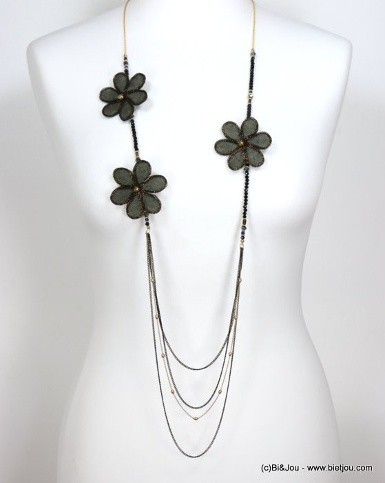 necklace 0119541-01 sautoir flower felt-metal-crystal-acrylic