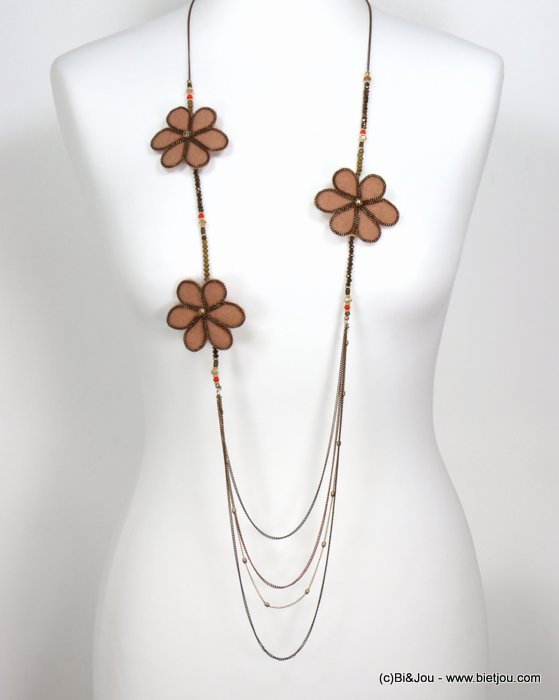 necklace 0119541-10 sautoir flower felt-metal-crystal-acrylic