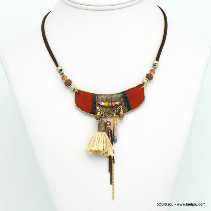 necklace 0119542-10 tassel suede-crystal-metal-polyester-acrylic-shell