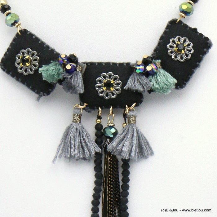 necklace 0119543-01 flower tassel suede-crystal-metal-polyester-acrylic-strass