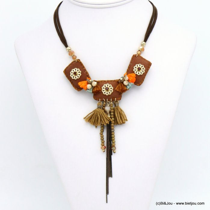 necklace 0119543-10 flower tassel suede-crystal-metal-polyester-acrylic-strass