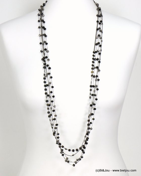 long necklace 0119544-01 sautoir metal-crystal-polyester