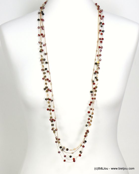 long necklace 0119544-10 sautoir metal-crystal-polyester
