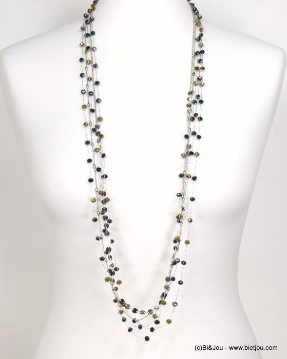 long necklace 0119544-29 sautoir metal-crystal-polyester
