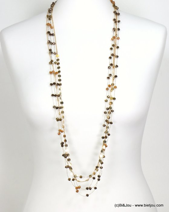 long necklace 0119544-43 sautoir metal-crystal-polyester