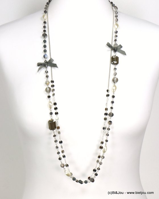 long necklace 0119545-26 sautoir bowknot metal-crystal-polyester-acrylic-reconstituted stone
