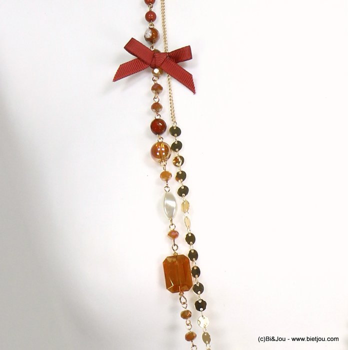 long necklace 0119545-42 sautoir bowknot metal-crystal-polyester-acrylic-reconstituted stone